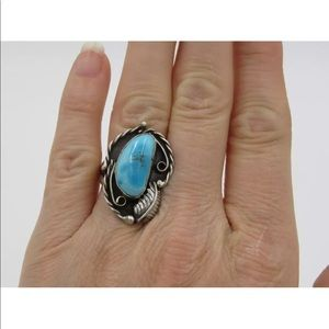 Jewelry - Vintage Sterling Silver & Larimar Ring Sz 6