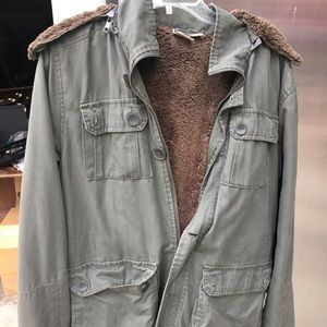 Urban outfitters faux fur military jacket