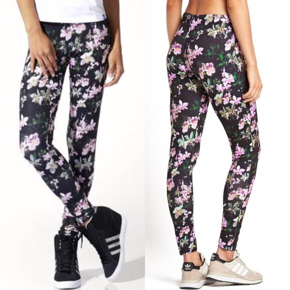 [Adidas] Orchid Print Leggings Floral Black Rare