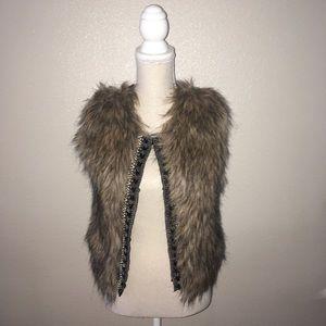 Miss Me Faux Fur Sweater Vest w/ Beading