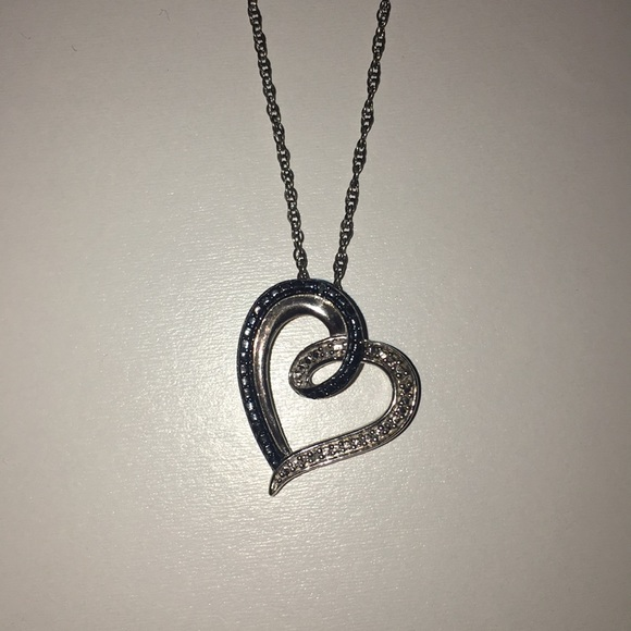 6e090f483 Kay Jewelers Jewelry - Sterling Silver blue/white diamond heart necklace