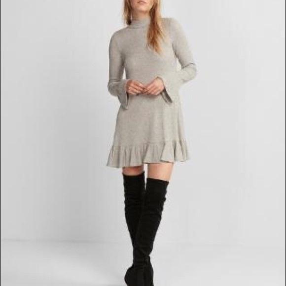 0257bef92a Express Dresses   Skirts - Marled Mock Neck Trapeze Dress