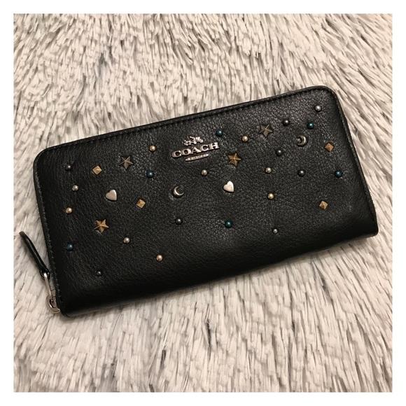 18c2ccd68ab2 Coach Stardust Stud Zip Around Wallet Black