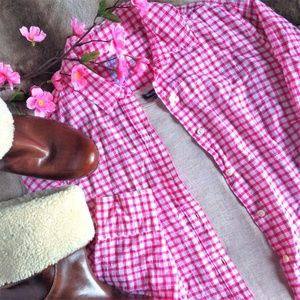 J. McLaughlin Pink & White Gingham Shirt
