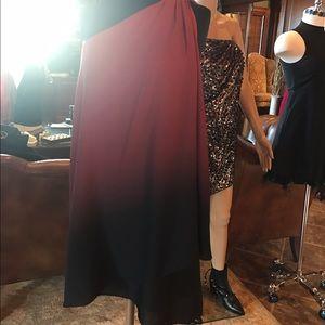 NWT Halston Heritage 1 Shoulder ombré drape dress