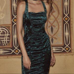 Green Velvet Ruched Dress *NEW*