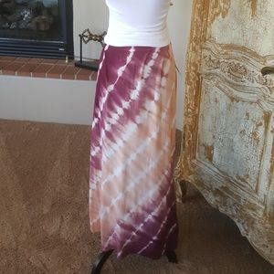 Cranberry/Peach tie dye Maxi Skirt New with Tags