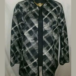 Catherine's Plaid Stitch Jacket Blazer 1X