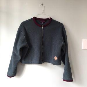 Jackets & Blazers - Blue-Grey Zip Up Sweater