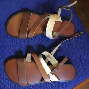 Brown Tan White strappy Urban Outfitters sandals 8