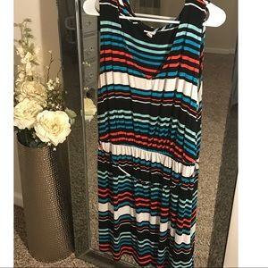 Striped tie waist sleeveless dress