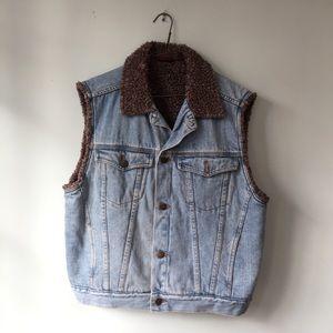 Jackets & Blazers - Denim Vest with Faux Fur Lining