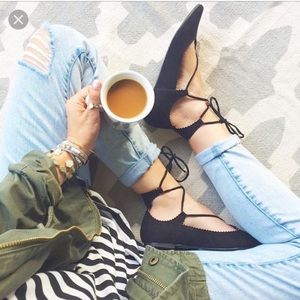 Worn once topshop lace up flats.