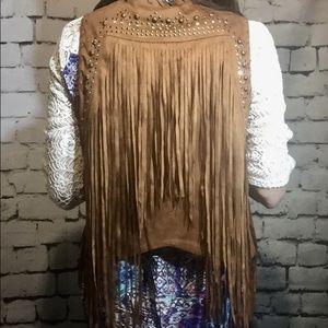 Miss Me faux leather fringe vest boho style Sz L