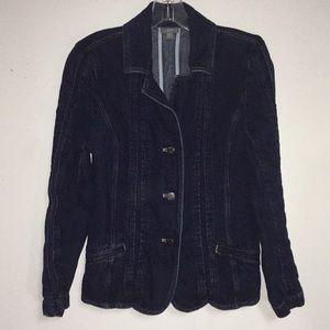 J. Jill 6 Cotton Linen Blue Jean Denim Jacket