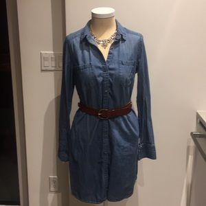 Button down denim long sleeve dress