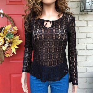 Tops - Black crochet tie front top