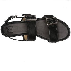 Black Leather & Calf hair Philip Buckle sandals