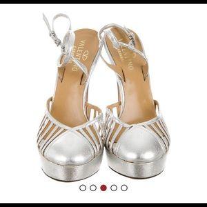 "Valentino silver tone pumps size 10 , heels 5.25"""