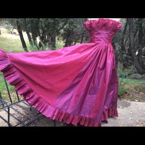 Vintage Gown Raspberry Taffeta Victor Costa