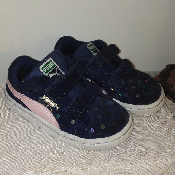 premium selection 19970 7551c Adorable Puma Suede velcro toddler girls 8 EUC