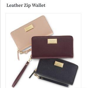 Leather Navy Blue zip wallet wristlet. NWT