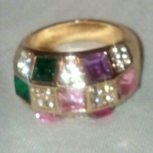 Lovely silver multi-gem stone size 7 ring