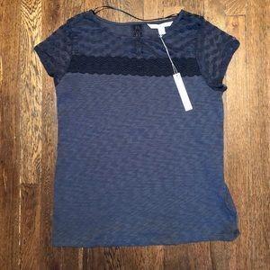 ⬇️💸 NWT Lace cap sleeve blue tee