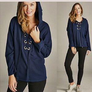 *Navy Blue Lace-Up Hoodie*