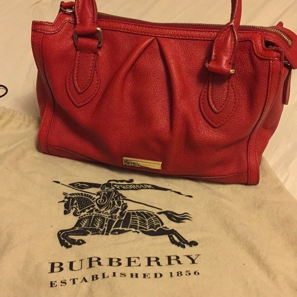 5c64310c985d Burberry Handbags - Burberry - SM Red leather bowling bag with strap!