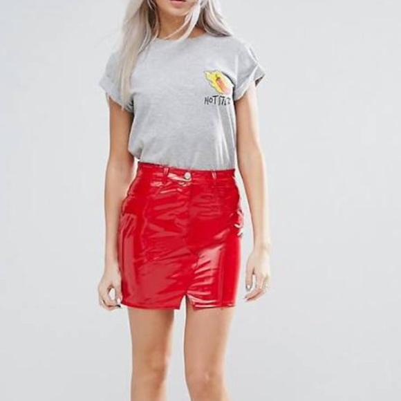 3cae006f ASOS Dresses & Skirts - Vinyl red mini skirt 🔥