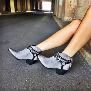 Gray Harness Western Booties