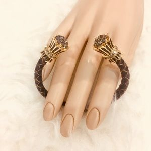 Jewelry - Brown Leather Cuff with Gold Accents