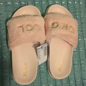 Pink Faux Fur Slide Slippers