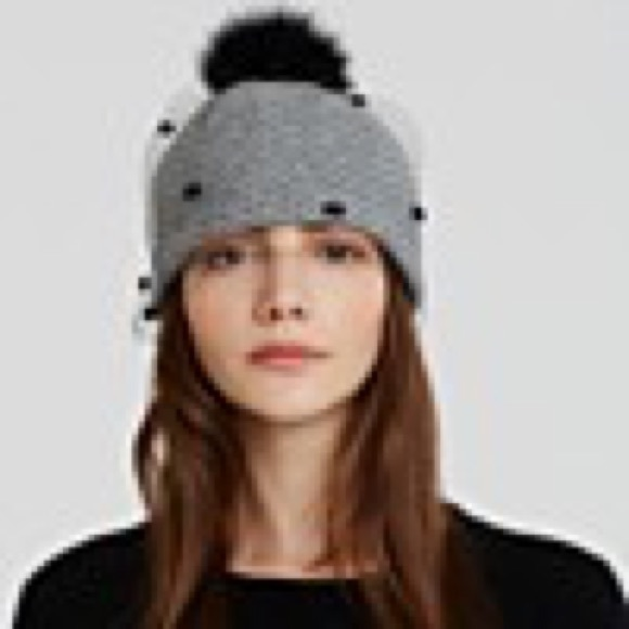 06af16d924c Helene Berman Accessories - Helene Berman beanie with veil   fox fur Pom Pom
