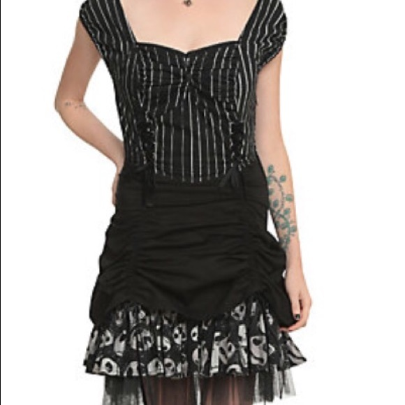 nightmare before christmas pinstripe lace up dress - Nightmare Before Christmas Clothing