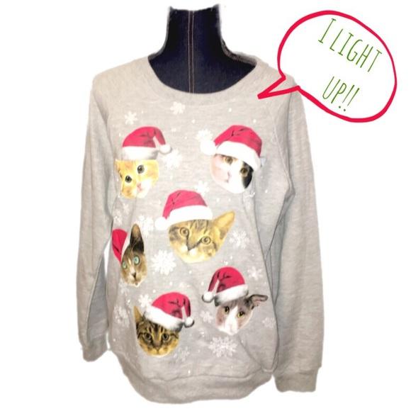 Freeze Sweaters Working Light Up Cat Christmas Sweater Poshmark