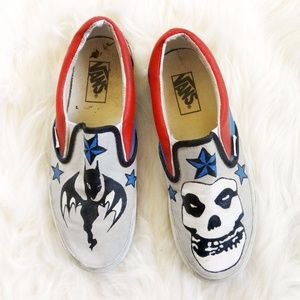 Custom Painted Misfits and AFI Vans Canvas Slip On