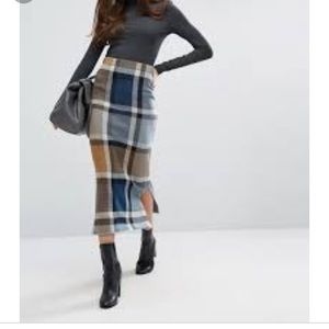 ISO ASOS warehouse midi check skirt