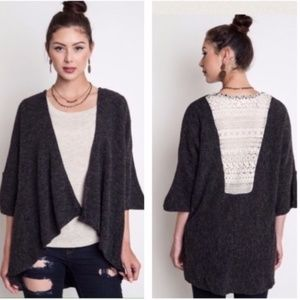 Umgee Charcoal Lace Back Sweater HOST PICK!