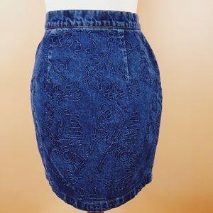 Vtg 90s Denim High Waist Abstract Print Skirt SM