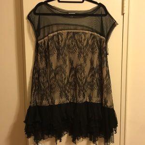 Foley + Corinna Black Lace Ruffle Shirt Dress