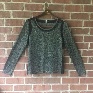 💖Sparkly Black and Silver Top w/Sheer Trim