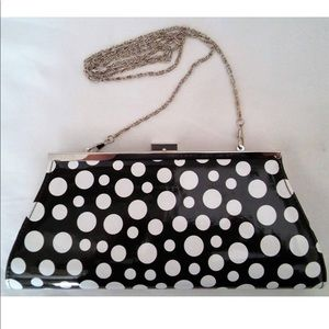 Neiman Marcus Polka Dot Clutch with Silver Chain