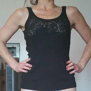 Sexy Dolce and Gabbana black tank top w/lace inset