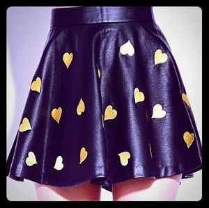 Forever 21 Faux Leather Skirt With Gold Hearts