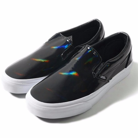 0db9f810334b4c Holographic Rave Patent Leather Slip On Vans ✨. M 5a1d07c5291a35e26d10484b.  Other Shoes ...