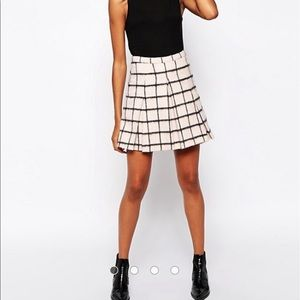🆕 ASOS wool brushed check kilt skirt