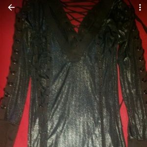 Black Shimmer Salvage Dress