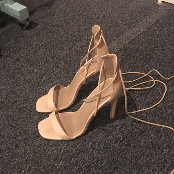 bb303a657fc boohoo nude lace up heels